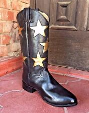 Line dance Cowboy Boots 6B Ladies Flex sole Black Gold Star Leather Cheerleader