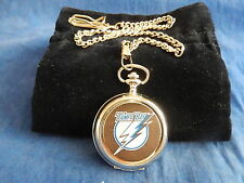 TAMPA BAY LIGHTNING ICE HOCKEY NHL CHROME POCKET WATCH WITH CHAIN (NEW)