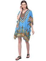Women Kaftan Tunic Tops African Dashiki Short Sleeve Summer Cover-Up Mini Dress