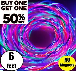 6FT LED Light Up Charger Charging Cable USB Cord for Samsung iPhone LG Moto HTC
