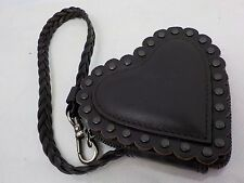 Authentic Christian Dior Black Leather Heart  Shape Coin Case 6E240320N