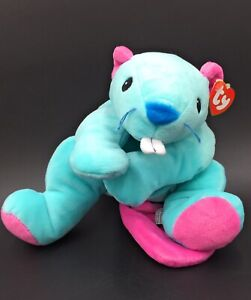 """Ty Chewy Blue Platypus Beaver Soft Plush Stuffed Toy 1998 - 13"""" Pillow Pals -New"""