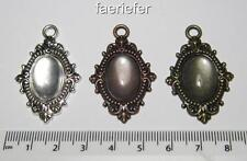 3 oval setting tray pendant frames blanks with matching glass 18x13mm cabochons