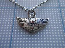 VTG 80s Harley Davidson SHIELD WINGS biker necklace RED BLK SILVER MINI PENDANT
