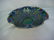 FENTON CHERRY IRIDESCENT ART GLASS BOWL FLUTED SCALLOPED FOOTED VINTAGE