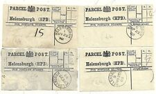 1902/03  4 HELENSBURGH PARCEL POST LABELS ALL DIFF CODE LETTERS SINGLE RING CDS