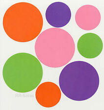 Solid Dots Purple Pink Green Orange Polka Dot Wallies Stickers Decals Large Mini
