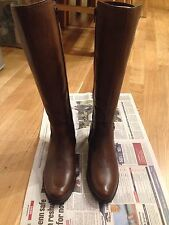 Brown Knee Length Leather Boots Side 4 37 Brand New