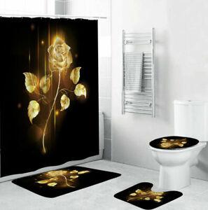 Golden Rose Bathroom Rugs Set Shower Curtain Non-Slip Toilet Lid Cover Bath Mat