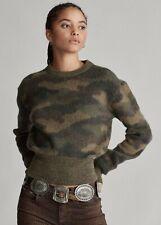NWT $398 Polo Ralph Lauren Womens Large Camo-Print Wool Sweater