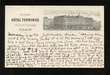 France PARIS Hotel Terminus Gare St Lazare advert u/b vignette PPC used c1903