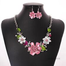 Fashion Rhinestone Enamel Flower Chain Statement Collar Bib Necklace Earring Set