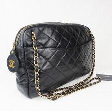 Chanel Bolso Mediano Cámara Vintage Negro Piel De Cordero Cuero-Atemporal