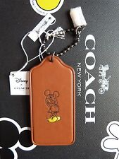 Coach X Disney MICKEY MOUSE Leather Hangtag Key Fob RARE BROWN