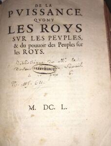 DE LA PUISSANCE QU'ONT LES ROYS SUR LES PEUPLES . 1650. MAZARINADE.