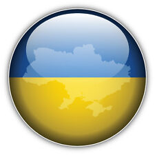 Ukraine Glossy Flag Map Label Car Bumper Sticker Decal 5'' x 5''
