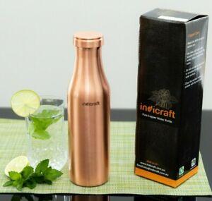 High Quality, Indicraft Pure Copper Bottle, 950ML, Sleek,Yoga, Aayurveda
