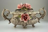 Capodimonte Made in Italy Serving Dish Pink Rose Floral Vintage Chipped U498