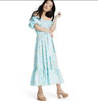 NEW LOVE SHACK FANCY x TARGET Estelle Puff Sleeve Blue Floral Dress Size 10 NWT