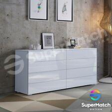 High Gloss 8 Drawer Chest Dresser Table Storage Cabinet Bedroom Furniture Black