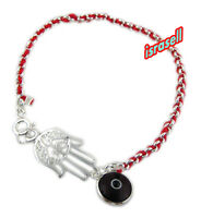 Kabbalah Red String Bracelet with Hamsa Hand and Evil Eye - Sterling Silver