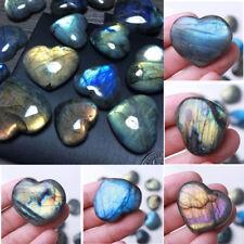 1pc Madagascar Quartz Labradorite Natural Crystal Rock Polished Heart Pendant