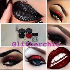 Halloween Brillo Maquillaje Ojos + Labios Kit Rojo + Negro 2 X Stargazer Y Adhesivo
