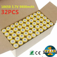 32pcs 18650 3.7V 9800mAh Yellow Li-ion Rechargeable Battery Cell For Torch EK