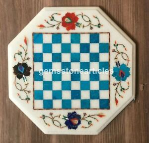 """12"""" Marble Top Chess Table Turquoise Inlaid Gemstone Floral Design Home Décor"""
