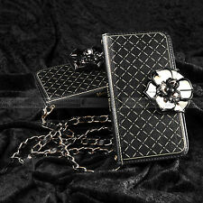 Sumsung Galaxy S6 Bling Gold Rose Leather Purse Wallet Case Flip Cover w/ Chain