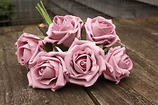 6 x VINTAGE DUSKY MAUVE ROSE PINK  COLOURFAST FOAM ROSES 6cm WEDDING FLOWERS