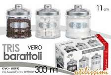 TRIS BARATTOLI CONTENITORI IN VETRO 11 CM 300 ML SALE-ZUCCHERO-CAFFE' OYO-680892
