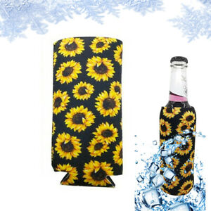 1PC Sunflower Slim Can Insulator Sleeve Neoprene Beer Can Cooler Fit for 12oz