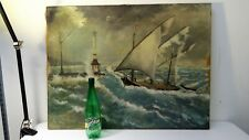 Ancien tableau peinture HST Marine signée
