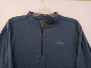 Orvis Mens Blue 1/4 Zip Long Sleeve Button Down Shirt ~ Size XL~ Very Sharp!