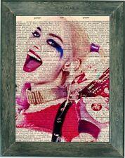 Harley Quinn suicide squad art print on vintage dictionary page 8x10 , batman
