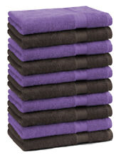 Betz 10 Toallas para invitados PREMIUM 30x50cm en marrón oscuro y morado