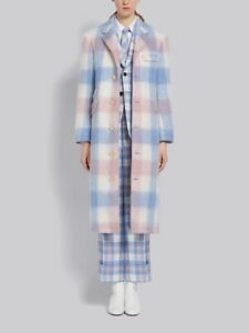 NWT THOM BROWNE PINK AND BLUE MOHAIR CHESTERFIELD BUFFALO CHECK COAT FR 40