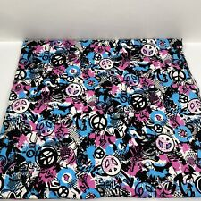 "Fabric Springs Creative Flannel Remnant Groovy Love Peace Graffiti 71""x42"""