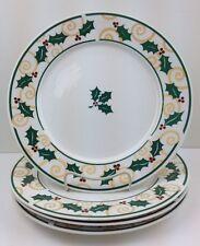 Set (4/8/12/16) Christmas Dinner Plates GOLDEN HOLLY Retroneu Gold Green Red
