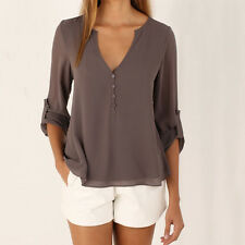 Women Roll-up Long Sleeve V-Neck Casual Chiffon Silk Loose T-Shirt Blouse Tops