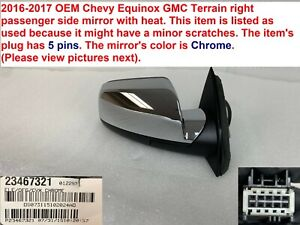 2016-2017 chevy equinox gmc terrain right side mirror with heat 23467321