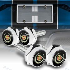 For Cadillac metal car license plate frame screw bolt cap cover nuts Chrome 4PCS