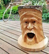 Hanging hand carved wooden wood log bird house box head nest garden ornament
