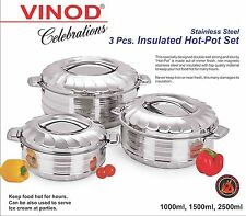 Hot Cold Food Insulated Casserole Double Wall Pot Stainless Steel 3pc Set