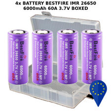 4x BATTERY BESTFIRE IMR 26650 3.7V 6000mAh 60A RECHARGEABLE BATTERIA + BOX
