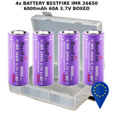 4x BATTERY BESTFIRE IMR 26650 3.7V 6000mAh 60A RECHARGEABLE BATTERIA + HARD BOX4