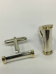 Tiffany & Co. Sterling And 18k Yellow Gold Bar Cufflinks