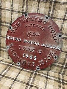 Vintage Metal Industrial Water Motor Alarm Advertising Sign -The Viking Corp