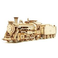 Model Train DIY Laser Cutting Mechanical  Wooden Building Kits Assembly Toy Gift